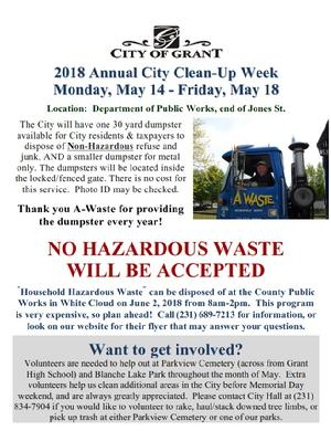 City of Grant Clean-Up Week:  Get rid of your non-hazardous junk for free!