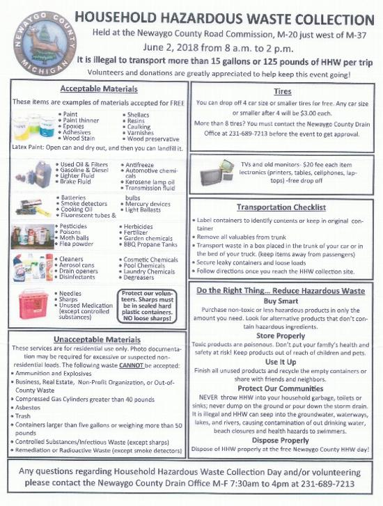 Household Hazardous Waste Collection offered in Newaygo County on June 2, 2018.