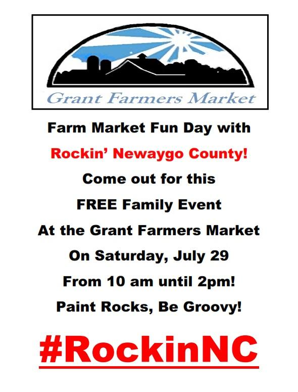 Our regular Farmers Market featuring fresh produce, baked goods, and homemade items available for purchase, plus a #RockinNC event.  The RockinNC event is free and fun for families.